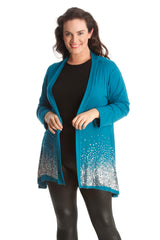 3173 Teal Glitter Sequin Cardigan