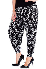 7105 Black Peace Print Harem Trouser