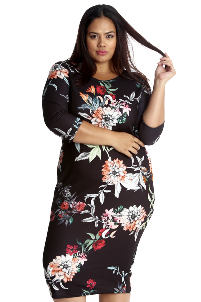 2247 Black Floral Print Bodycon Dress