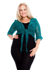 1091 Turquoise Sequin Lace Shrug