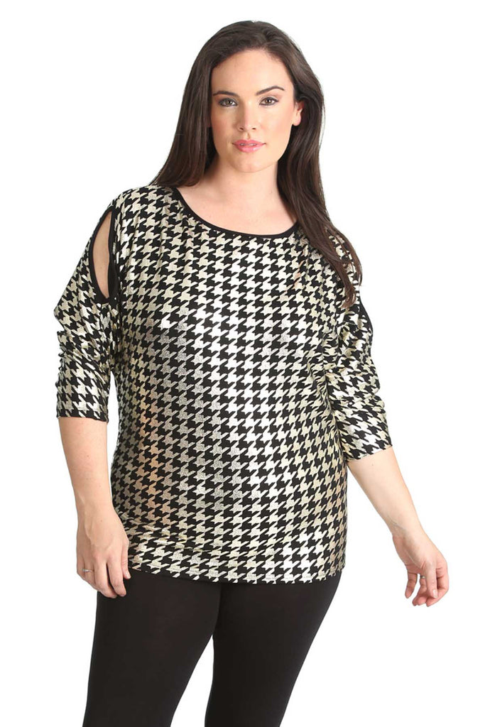 1445 Gold Dogtooth Print Foil Cold Shoulder Top