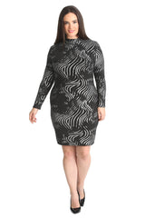 2202 Silver Abstract Print Lurex Midi Dress