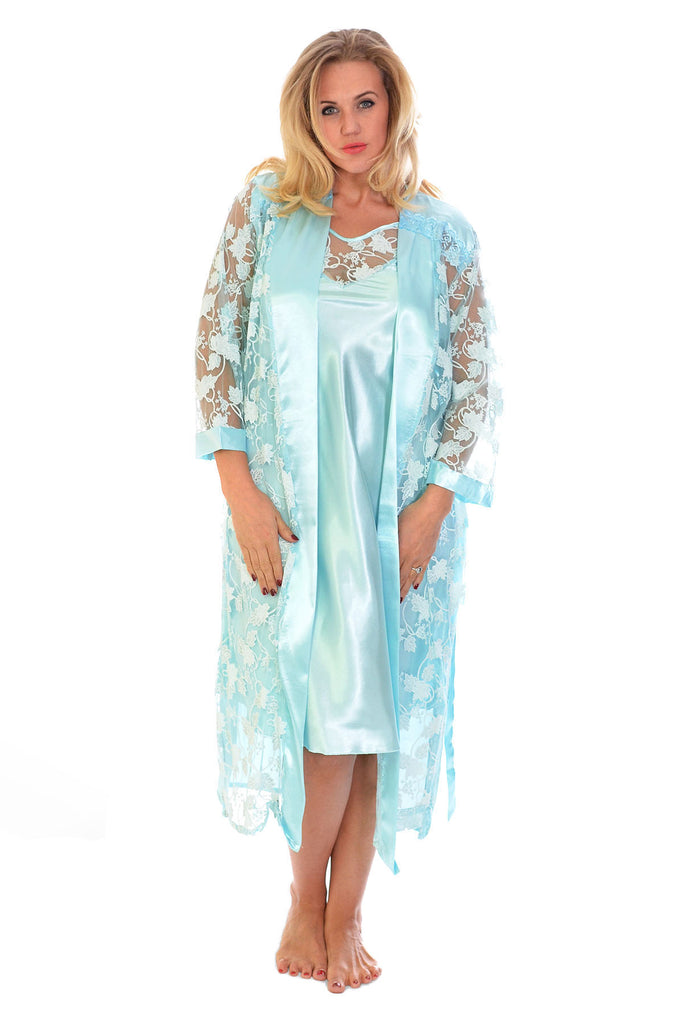 Glitter Floral Satin 2 in 1 Nightsuit