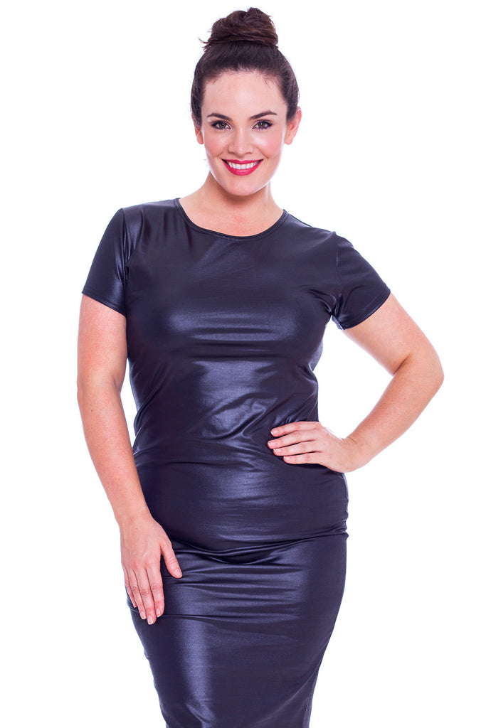 2168 Black Wet Look Bodycon Dress