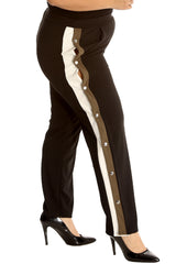 6024 Wine Khaki Side Popper Button Trousers