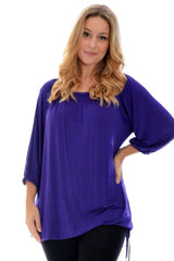 1014 Purple Square Neck Tunic Top