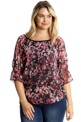 1632 Red Floral Print Chiffon Top