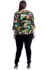 Paisley & Chain Print Frill Top