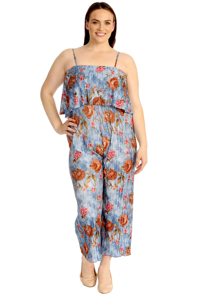 Sleeveless Floral Print Pleated Jumpsuit