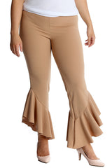6084 Dusty Pink Frill Cuffs 70S Trousers