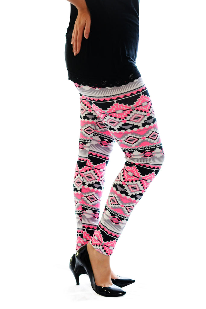 7064 Pink Neon Aztec Leggings