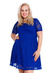 2147 Royal Blue Floral Lace Tunic Dress