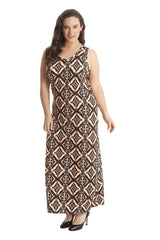 2191 Rust Moroccan Tile Print Maxi Dress