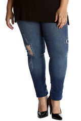 6077 Denim Sequin Patched Ripped Jeans