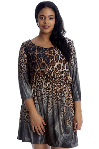 Abstract Animal Print Skater Dress