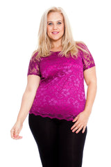 1300 Purple Scallop Lace Top