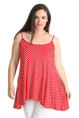 1293 Red Polka Dot Tank Top