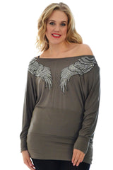 1238 Black Angel Wing Rhinestone Slash Neck
