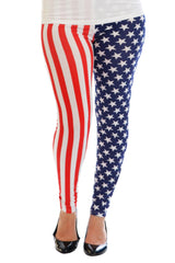 7067 White American Flag Print Leggings