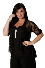 3072 Black Diamante Button Sleeve Cardigan