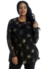 1214 Gold Floral Foil Lace Long Sleeve Top