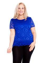 1300 Royal Blue Scallop Lace Top