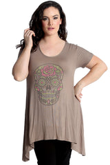 Sugar Skull Stud A-Line Top
