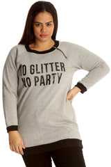 3124 Black No Glitter No Party Print Zip Sweatshirt