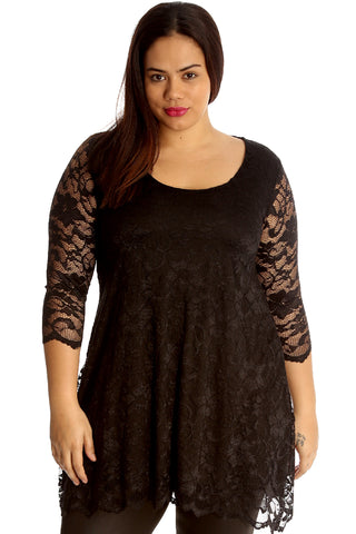 Scallop Lace Tunic Dress