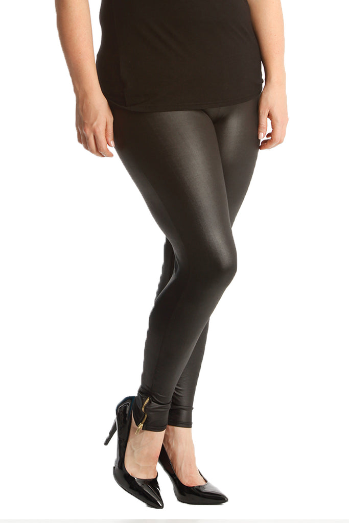 Zip-Detail Wet Look Leggings