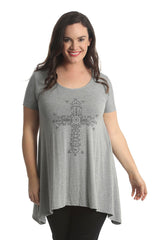 1410 Silver Grey Victorian Cross Stud Top