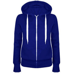 3174 Royal Blue Plain Zip Hoodie