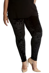 7137 Black Full Length Velvet Leggings