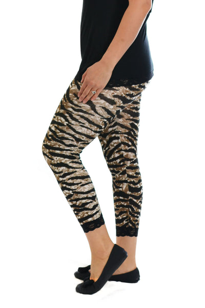 Cropped Tiger Lace Trim Leggings