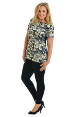 1147 Grey Satin Floral T Shirt