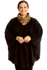 Tiger Print Snood Neck Poncho