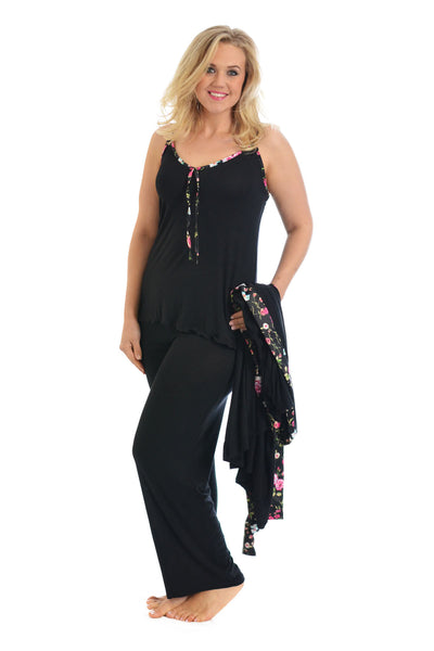 2 in 1 Floral Trim PJ Set
