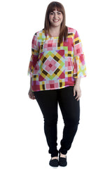 Abstract Print Chiffon Blouse