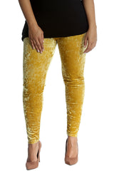 7137 Gold Full Length Velvet Leggings