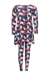 2189 Blue 2 In 1 Santa Print Top Leggings Set
