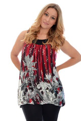 1123 Wine Flower Print Sequin Sleeveless Top