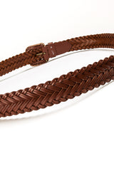 4017 Brown Plain Braided Belt