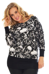 1233 Black Skull And Roses Batwing Top