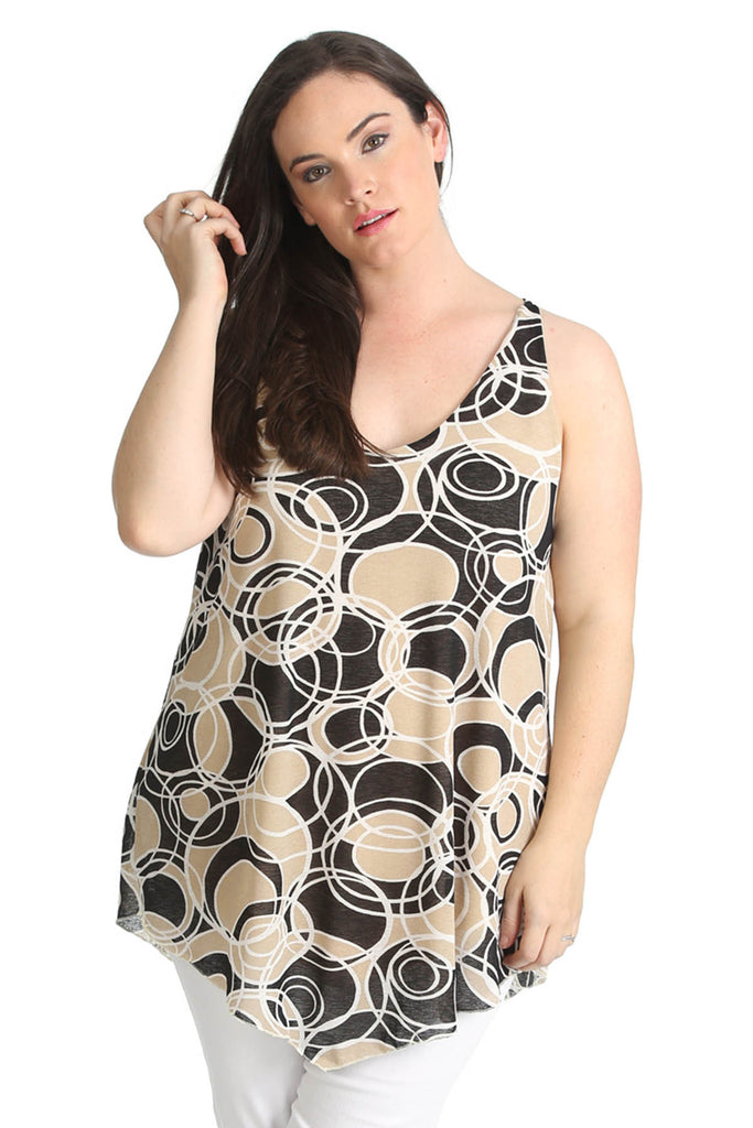 1417 Beige Abstract Circle Hanky Top