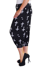 7099 Black Cropped Cross Print Ali baba Trousers