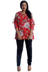 1223 Red Floral Print Frill Cold Shoulder Top