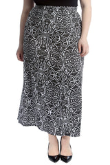 Paisley Mirror Effect Print Mid Calf Skirt