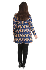 1425 Blue Gingerbread Xmas Top