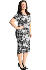 Monochrome Floral Print Dress