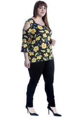 Yellow Flower Print Cold Shoulder Bell Sleeve Top